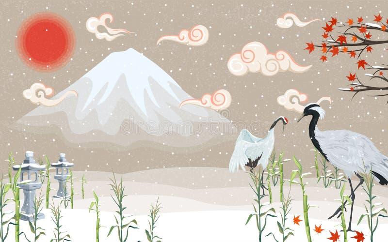 Japanse kranen bij zonsondergang in de winter vector illustratie