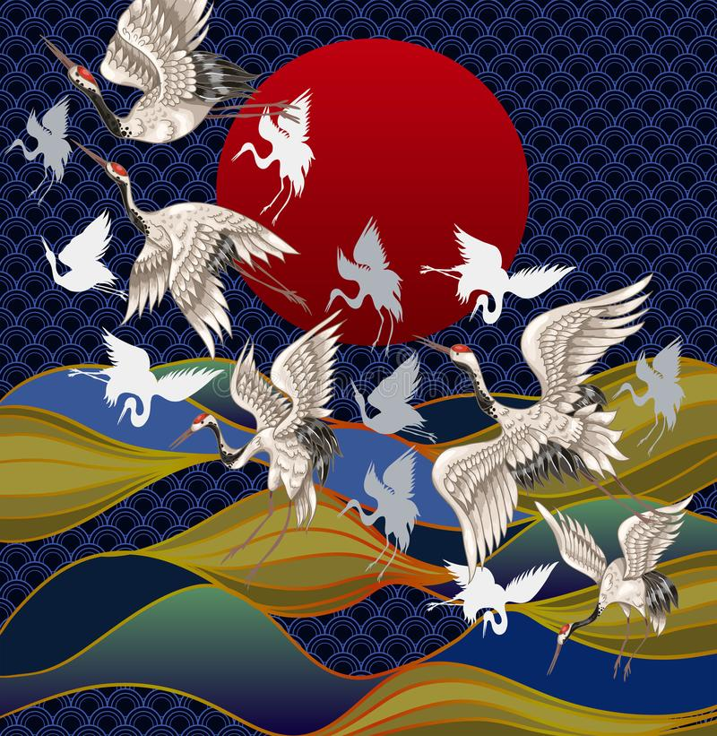 Japanse kranen tegen de achtergrond van de zonsondergang en het overzees Het Japanse Traditionele Schilderen voor Druk vector illustratie