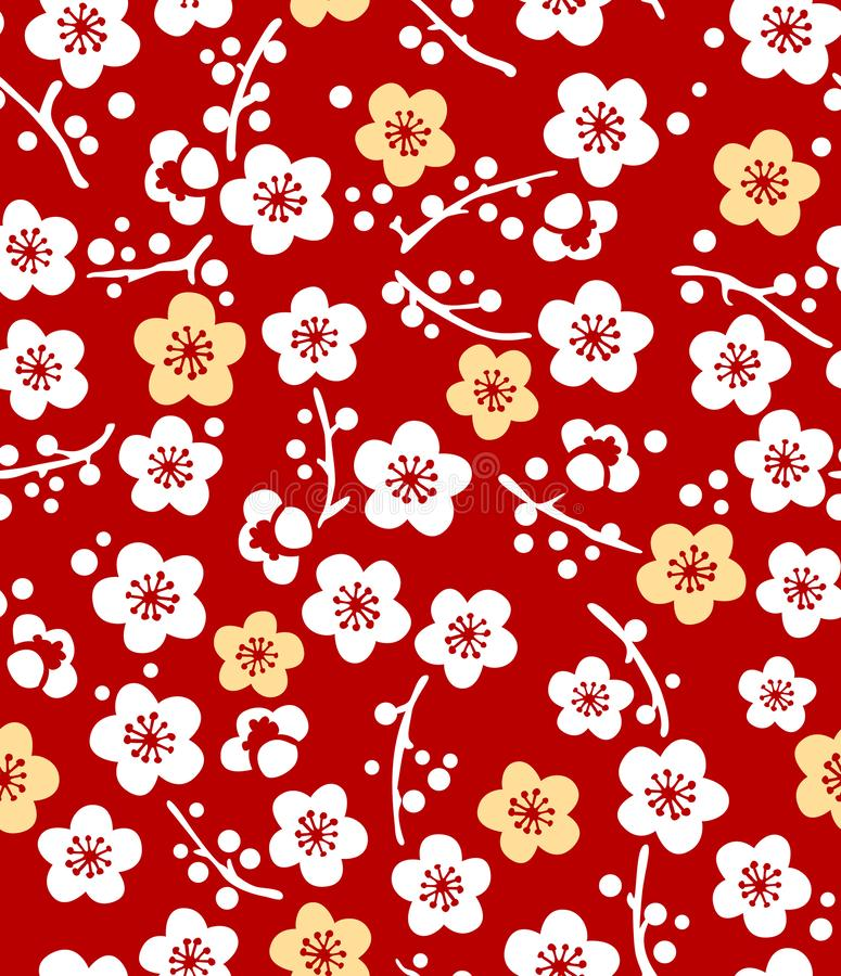 Japanse Leuke Plum Blossom Pattern stock illustratie