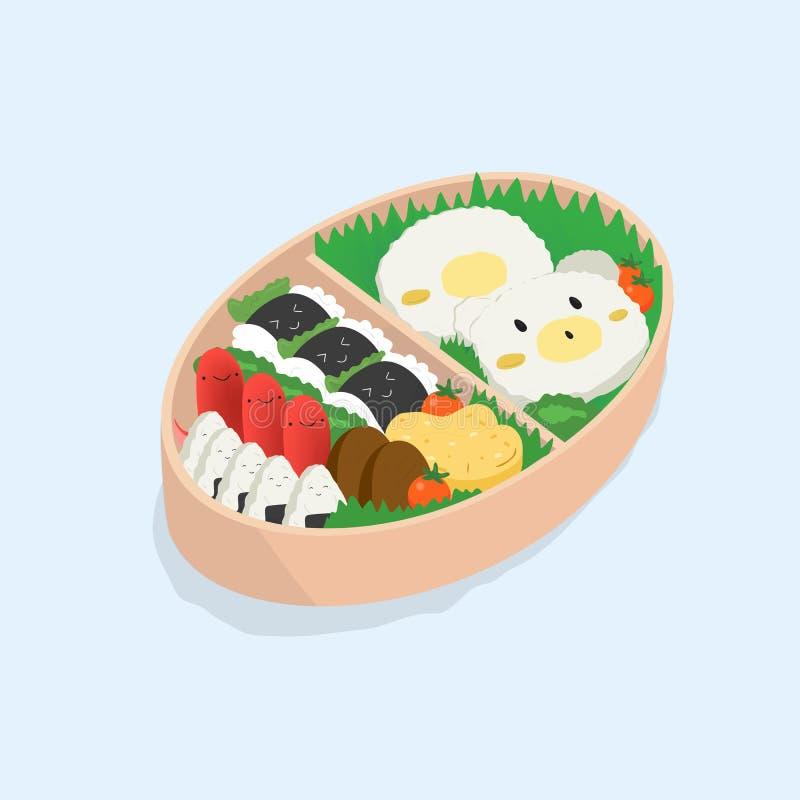 Japanse lunchdoos, bento Grappig beeldverhaalvoedsel Isometrische kleurrijke vectorillustratie op blauwe achtergrond stock illustratie