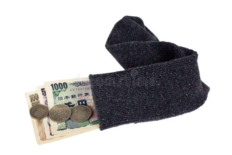 Japanse munt in een sok royalty-vrije stock fotografie