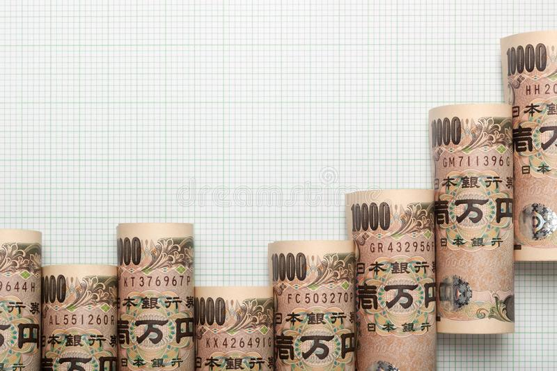 Japanse muntuptrend grafiek stock fotografie