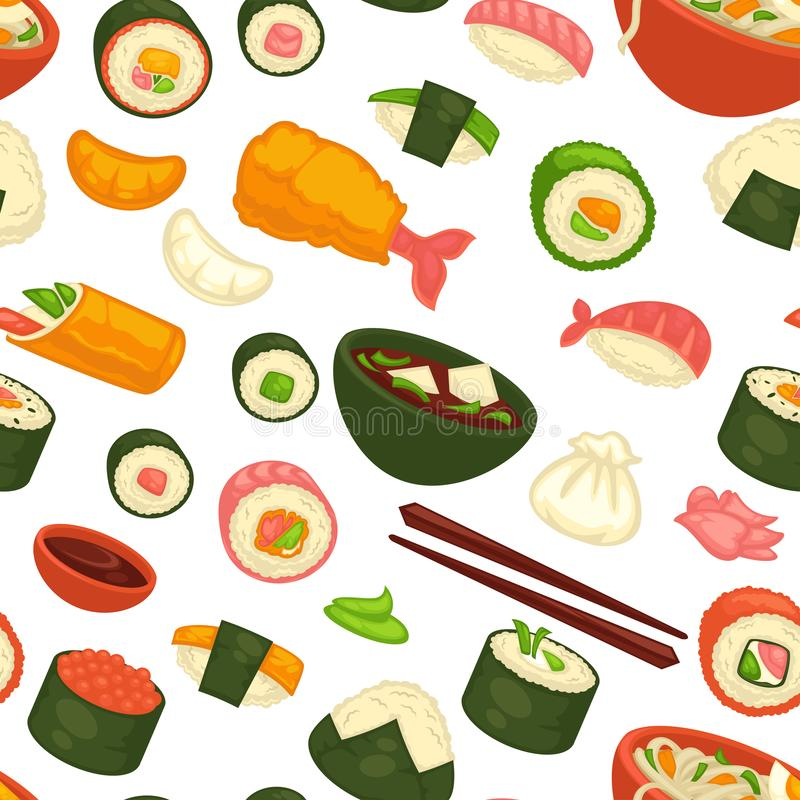 Japanse nationale keukenschotels en maaltijd naadloos patroon royalty-vrije illustratie