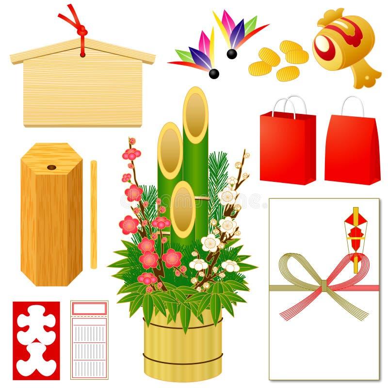 Japanse Nieuwe pictogrammen Yearâs royalty-vrije illustratie