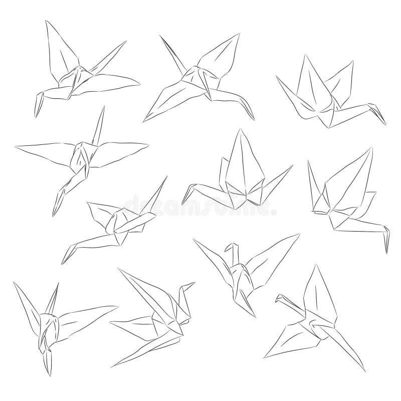 Japanse Origamidocument geplaatste kranen, symbool van geluk, geluk en levensduur, schets Zwarte lijncontour op witte achtergrond royalty-vrije illustratie