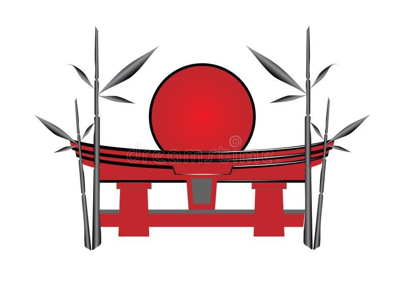 Japanse poort de zon en een bamboe royalty-vrije illustratie