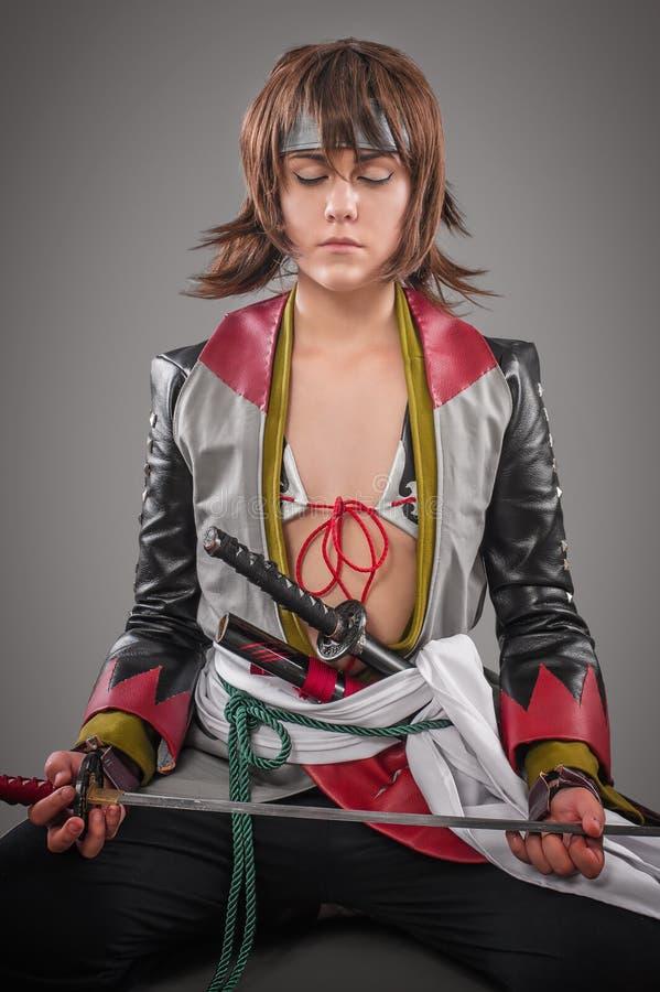 Japanse samoeraien met katanazwaard royalty-vrije stock afbeeldingen
