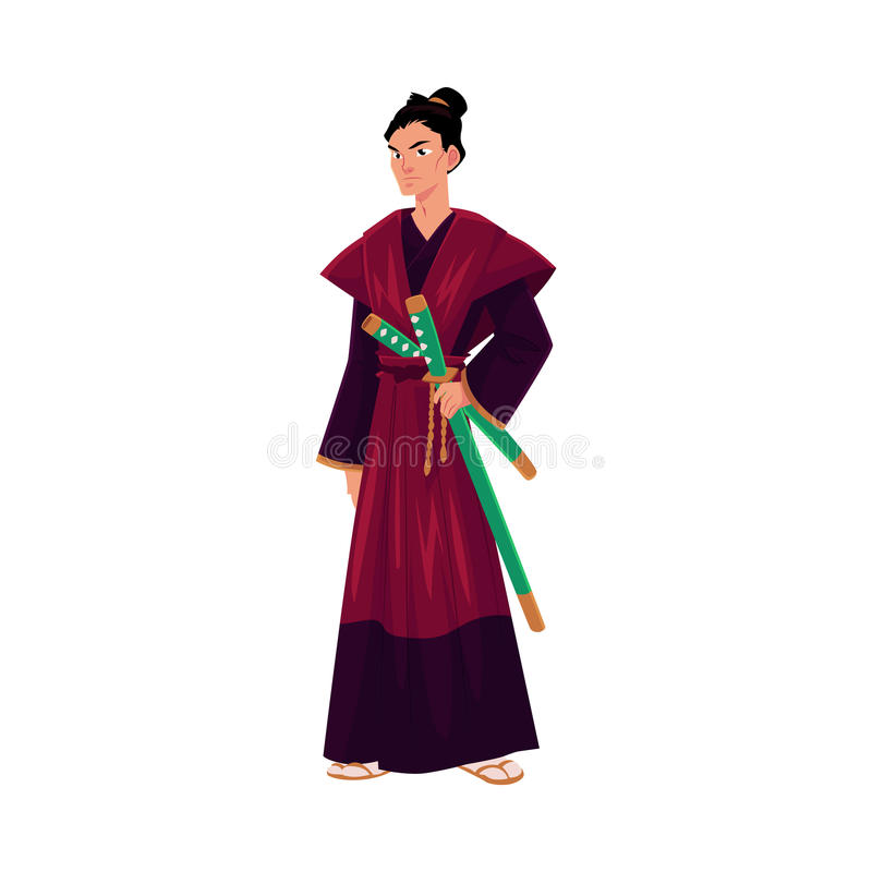 Japanse samoeraien, strijder in traditionele kimono met katanazwaarden stock illustratie
