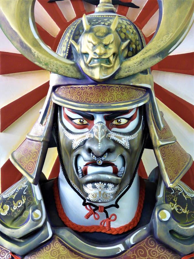 Japanse Samoeraienstrijder - Hoofdfront view stock afbeeldingen