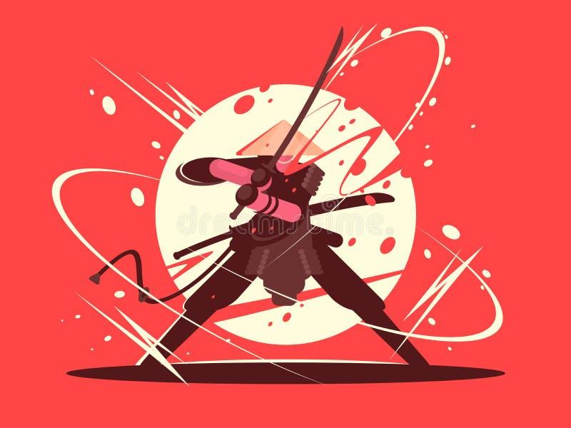 Japanse slagsamoeraien met katana stock illustratie