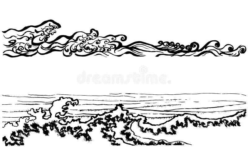 Japanse stijlgolven vector illustratie