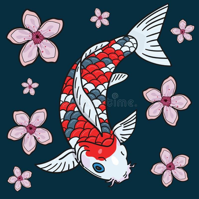 Japanse stijlkarper Kleurrijke vectorillustratie royalty-vrije illustratie