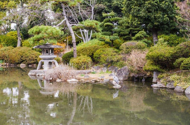 Japanse stijltuin in het kasteel van Osaka, Osaka stock foto's