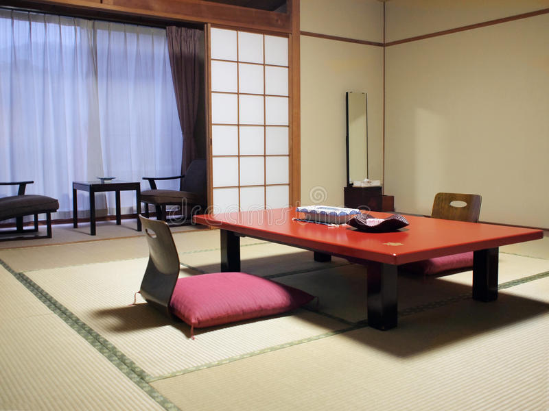 Japanse stijlwoonkamer stock afbeelding