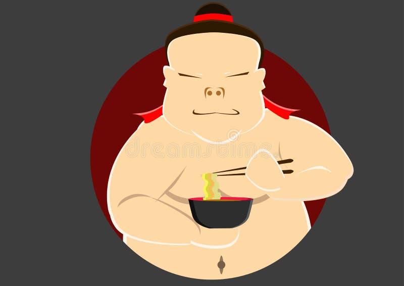 Japanse sumo eet een kom van noedel stock afbeeldingen