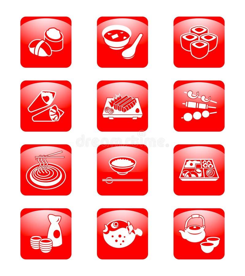 Japanse sushi-staaf pictogrammen | De reeks van het STIJGEN royalty-vrije illustratie