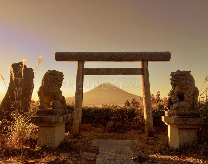 Japanse Torii-Poort en MT fuji stock foto