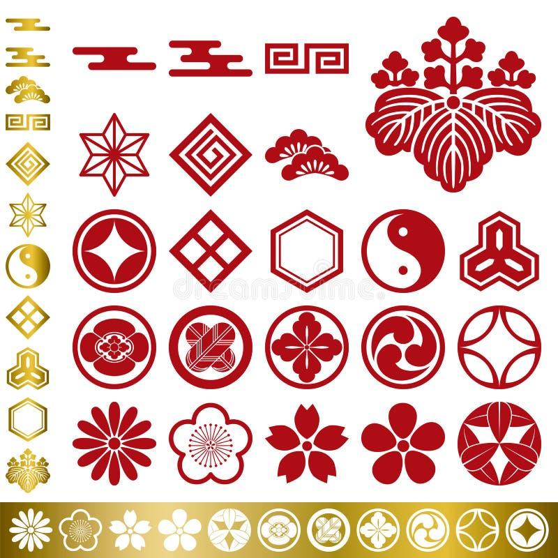 Japanse traditionele geplaatste elementen stock illustratie