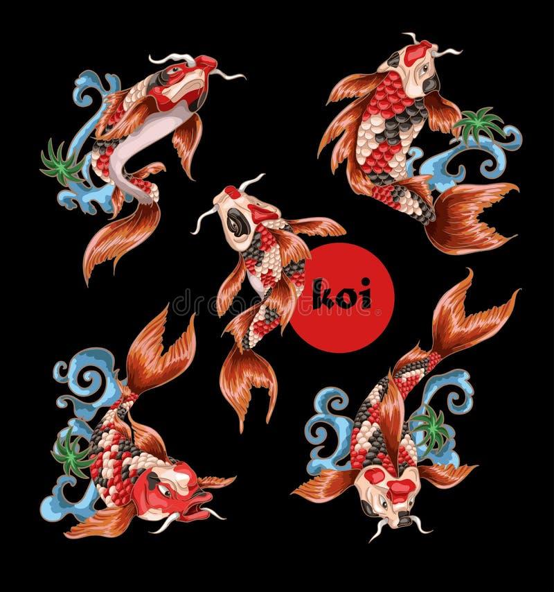Japanse traditionele karperkoi voor borduurwerk of druk royalty-vrije illustratie