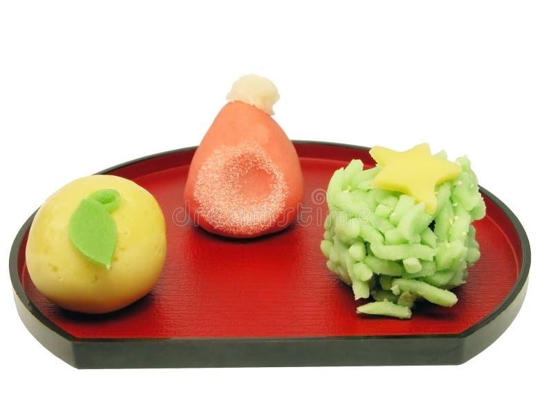 Japanse traditionele Kerstmis koekt regeling-knippende weg stock afbeeldingen