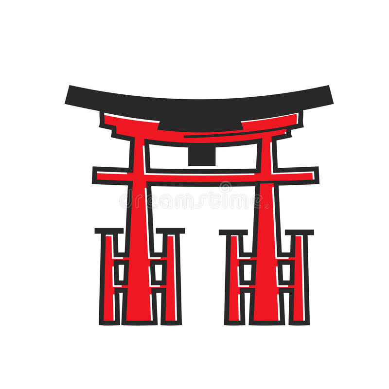 Japanse traditionele rode houten boog met omheining geïsoleerde illustratie stock illustratie