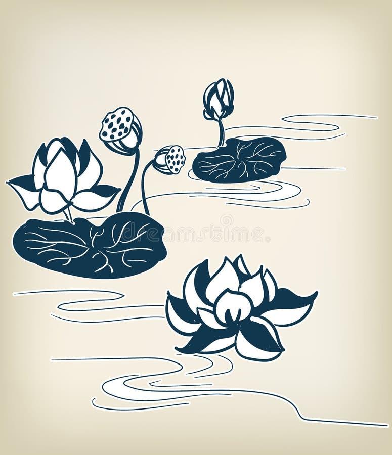Japanse traditionele vector het ontwerpelementen van de illustratiewaterlelie vector illustratie
