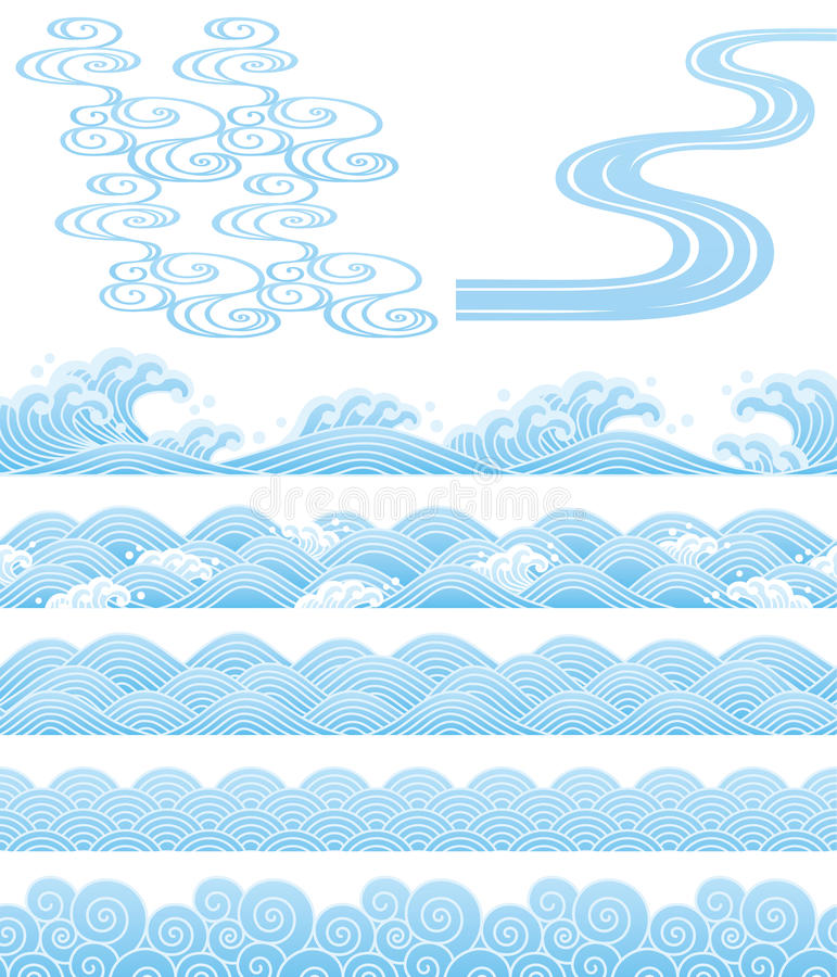 Japanse traditionele wavess vector illustratie