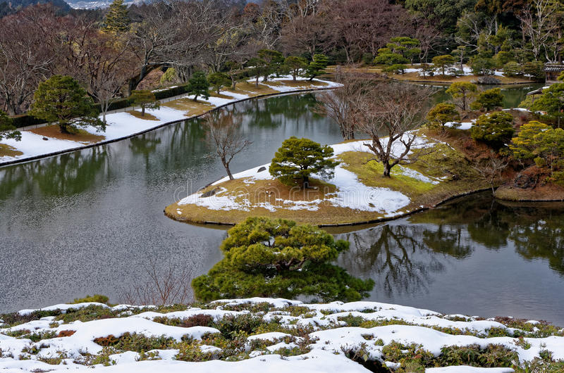 Japanse tuin in de winter, Kyoto Japan royalty-vrije stock foto