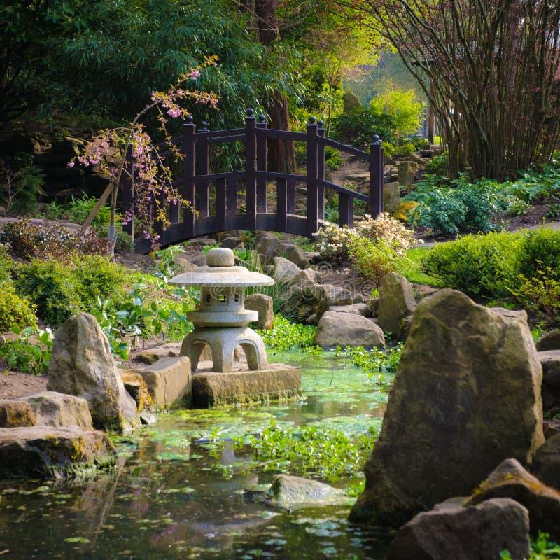 Japanse Tuin met Brug en Stroom royalty-vrije stock afbeeldingen