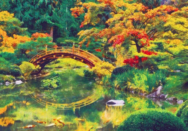 Japanse tuin met brug over een vijver royalty-vrije illustratie