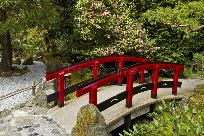 Japanse Tuin met Rode Brug stock afbeelding