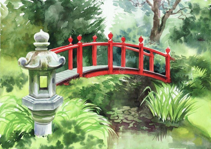 Japanse tuin met rode brug stock illustratie