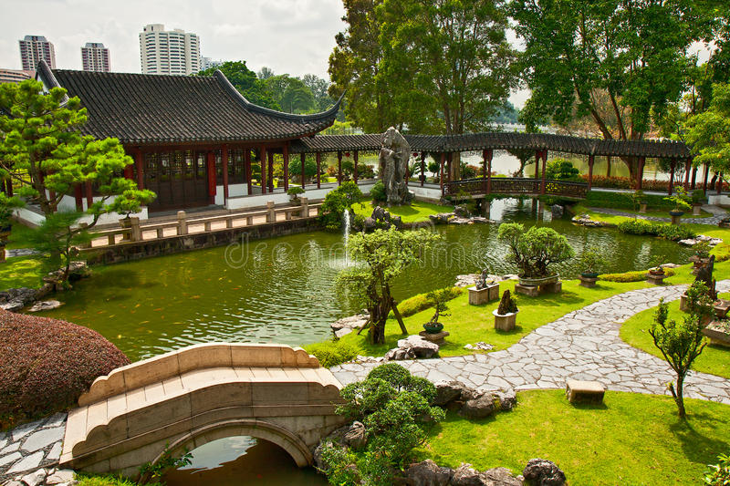 Japanse tuin in Singapore stock afbeelding