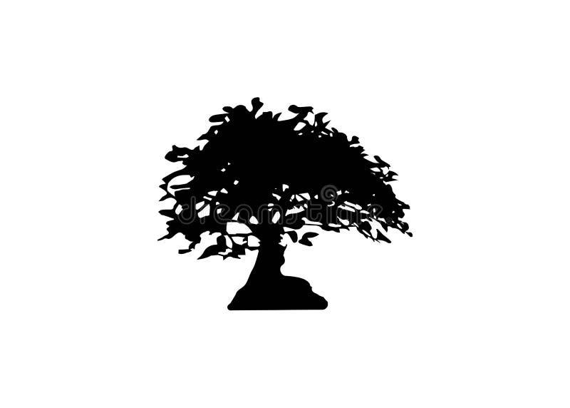 Japanse van de het embleeminstallatie van de bonsaiboom het silhouetpictogrammen op witte achtergrond, Zwart silhouet van bonsai  stock illustratie