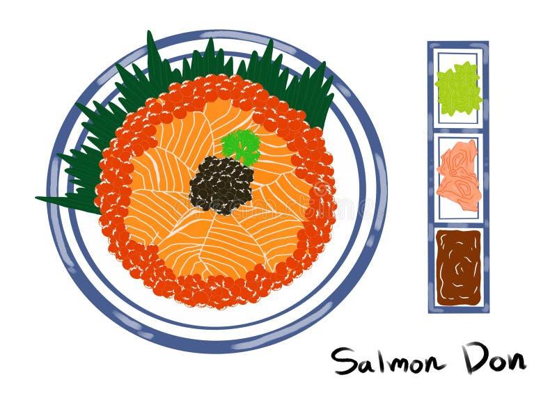 Japanse voedselstijl, Reeks van rijst met gesneden zalm en beloegakaviaar op witte plaat stock illustratie