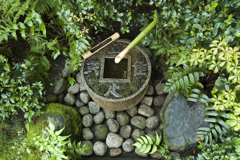 Japanse waterfontein in de theehuis van Tokyo royalty-vrije stock foto's