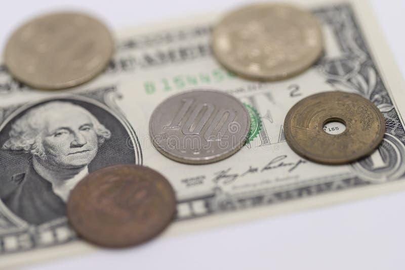 Japanse Yen en Amerikaanse dollar royalty-vrije stock fotografie