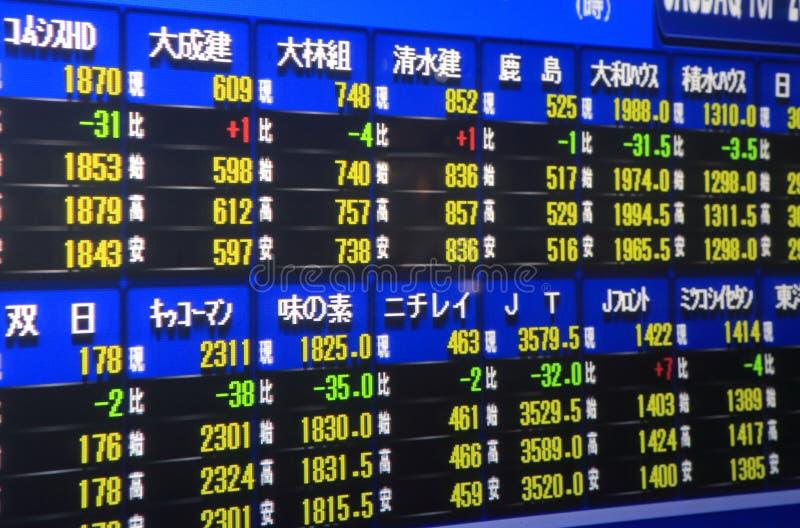 Japansk aktiemarknad arkivbild