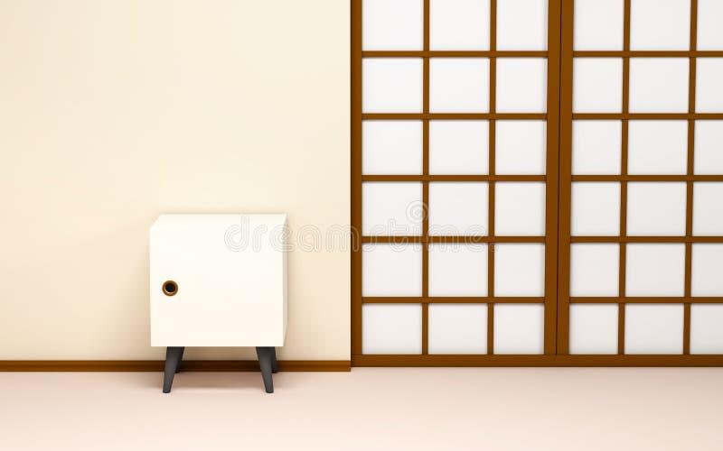 Japansk bakgrund med den retro tv:n stock illustrationer
