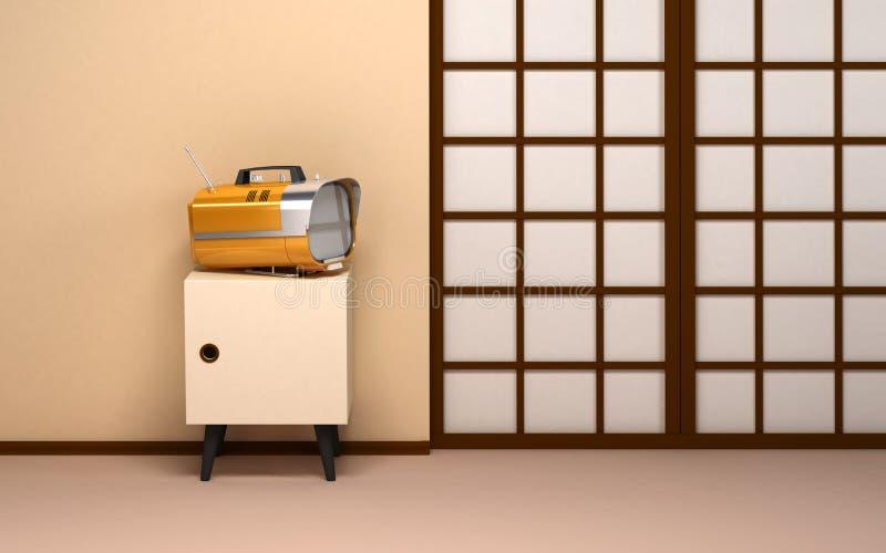 Japansk bakgrund med den retro tv:n royaltyfri illustrationer
