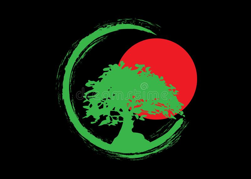 Japansk bonsaiträdlogo, kontursymboler för grön växt på svart bakgrund, grön ekologikontur av bonsai och röd solnedgång vektor illustrationer