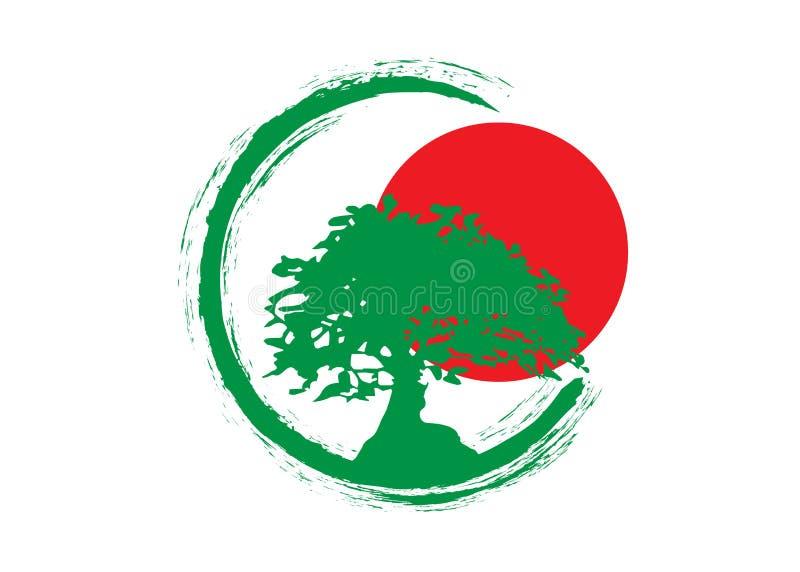 Japansk bonsaiträdlogo, kontursymboler för grön växt på vit bakgrund, grön ekologikontur av bonsai och röd solnedgång royaltyfri illustrationer