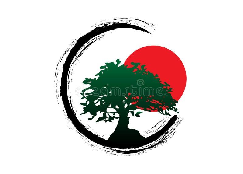 Japansk bonsaiträdlogo, kontursymboler för grön växt på vit bakgrund, grön ekologikontur av bonsai och röd solnedgång vektor illustrationer