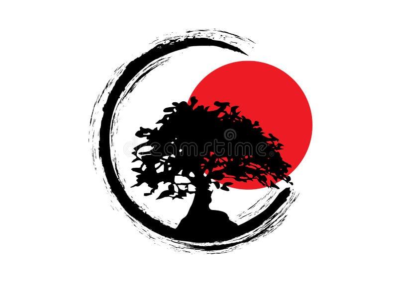 Japansk bonsaitr?dlogo, svarta v?xtkontursymboler p? vit bakgrund, gr?n ekologikontur av bonsai och r?d solnedg?ng stock illustrationer