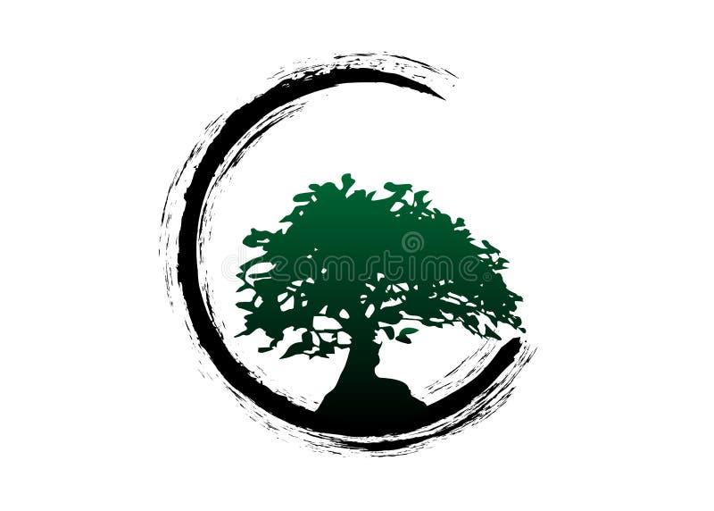 Japansk bonsaitr?dlogo, v?xtkontursymboler p? vit bakgrund, gr?n kontur av bonsai Detailed avbildar Isolerad vektor royaltyfri illustrationer