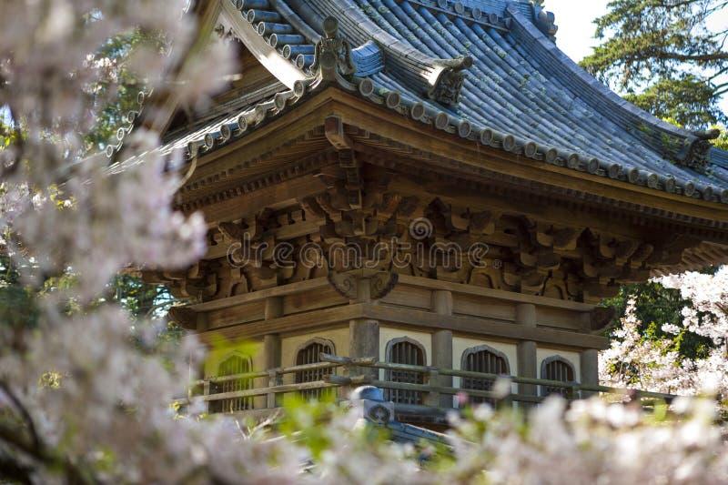 Japansk byggnad i trädgård fotografering för bildbyråer