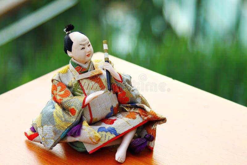 Japansk docka, manliga japanska traditionella dockor, asiatiska dockor arkivfoton
