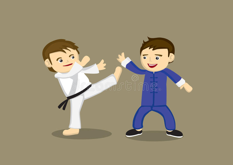 Japansk för karate kines Kung Fu Vector Illustration kontra vektor illustrationer