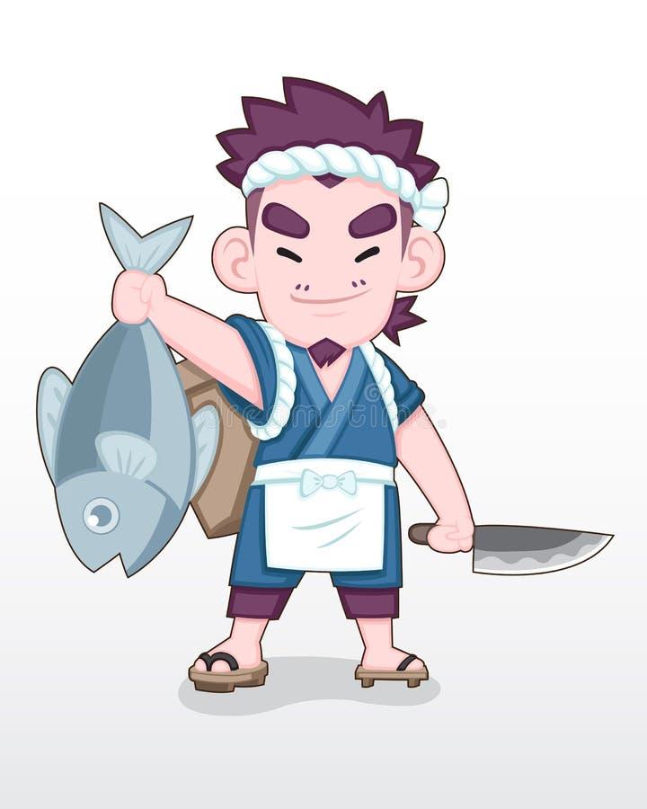 Japansk fiskare för gullig stil med den stora havfiskillustrationen vektor illustrationer