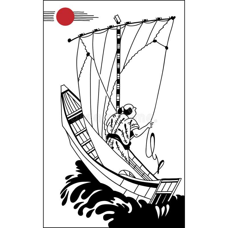 Japansk fiskare i ett seglingskepp handattraktionkonst Uppsättning av il stock illustrationer